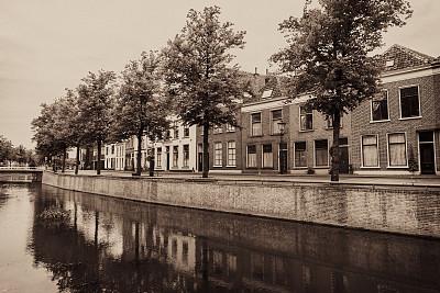 甘本,古典式,城市,都市风景,街道,azt疗法,上艾瑟尔,棕褐色调,运河