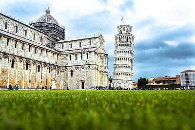 比萨斜塔,意大利,奇迹广场,比萨,意大利人,利古里亚大区,托斯卡纳区,古城,广角,国际著名景点