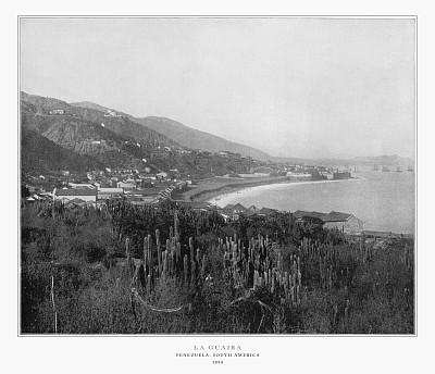 拉瓜伊拉港,1893,古董,委内瑞拉,1890,1900,南美,水平画幅,档案,19世纪风格