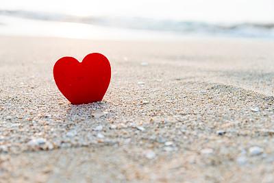 海滩,心型,红色,我爱你,水,天空,留白,沙子,夏天,热带气候