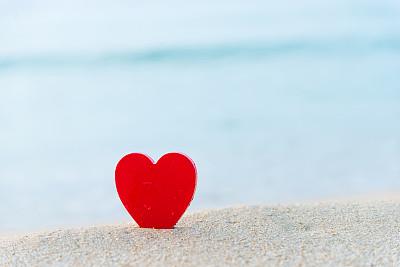 海滩,心型,红色,我爱你,水,留白,沙子,夏天,热带气候,海景