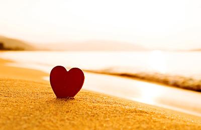 心型,红色,黄金海岸,我爱你,沙子,水,天空,留白,曙暮光,夏天
