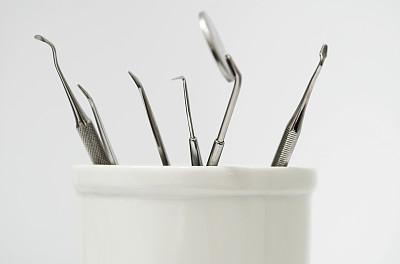 牙科设备,牙医钩,折角镜,镊子,水平画幅,牙医,健康保健,药,彩色图片,设备用品