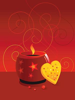 蜡烛,垂直画幅,饼干,式样,无人,绘画插图,烘焙糕点,浪漫,螺线
