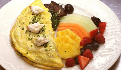 蛋卷,螃蟹,波托贝洛蘑菇,早餐,水平画幅,鸡蛋,水果,无人,浆果,巨大的