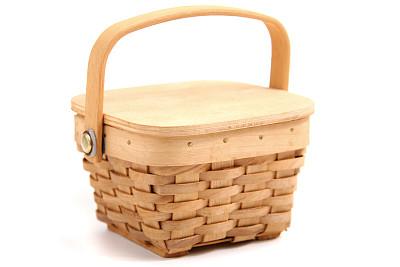 木制,路障,合页,野餐篮,水平画幅,小的,无人,手艺,盖子,白色背景