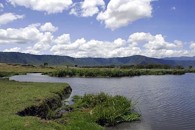 恩戈罗恩戈罗火山口,地形,恩格罗恩格罗保护区,水,草原,水平画幅,枝繁叶茂,无人,火山地形,户外