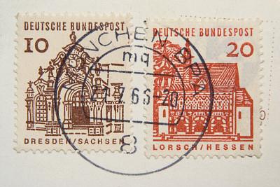 古典式,橡皮章,邮件,德国,1966,动物冲锋,数字20,古董,水平画幅,无人