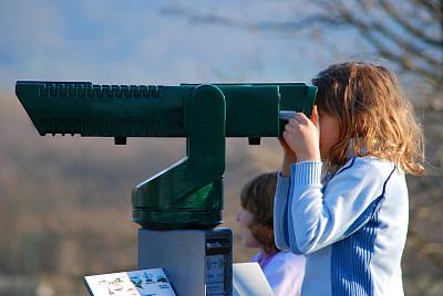 左撇子,透过窗户往外看,旅行者,女孩,望远镜,天文台,青少年,休闲活动,水平画幅,顾客