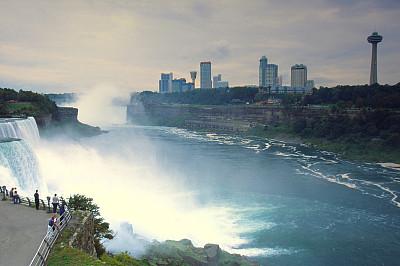 尼亚加拉瀑布,旅游目的地,水平画幅,地形,瀑布,无人,城市天际线,纽约州,户外,都市风景