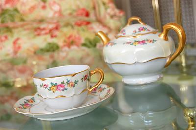 茶,餐具,古董,水平画幅,无人,茶碟,热饮,古典式,玻璃,饮料