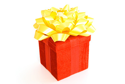 蝴蝶结,红色,包装纸,黄色,水平画幅,无人,白色背景,盒子,生日