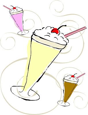 奶昔,垂直画幅,冰淇淋,奶制品,寒冷,樱桃,无人,绘画插图,奶油,玻璃杯