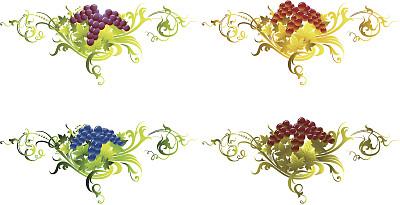 葡萄,叶子,九月,华丽的,十月,法定假日,边框,食品,巴洛克风格,古典式