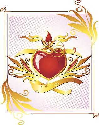 黄金,心型,垂直画幅,美,青少年,古董,青春期,艺术,绘画插图,符号