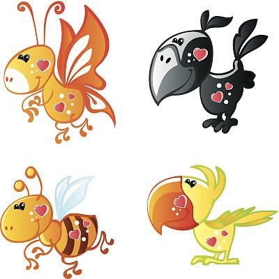 乐趣,动物,两只动物,动物心脏,大黄蜂,垂直画幅,无人,绘画插图,鸟类,卡通