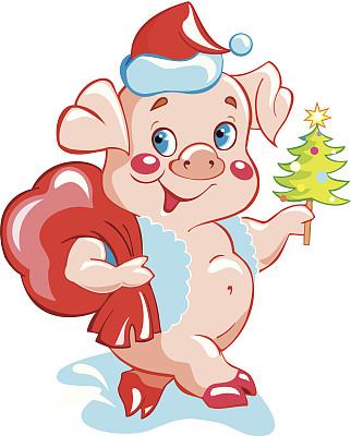 猪,新年,垂直画幅,拟人笑脸,无人,绘画插图,符号,圣诞树,幽默
