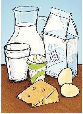 奶制品,垂直画幅,绘画插图,不完全的,鸡蛋,无人,玻璃杯,奶酪,酸奶,饮料
