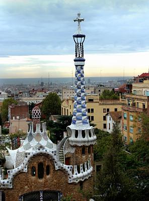 安东尼奥·高迪,桂尔公园,建筑,巴塞罗那,西班牙,垂直画幅,无人,石材,云景,石头