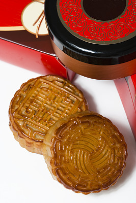 月饼,中秋节,垂直画幅,无人,蛋糕,盒子,甜点心,甜食,红色,传统节日