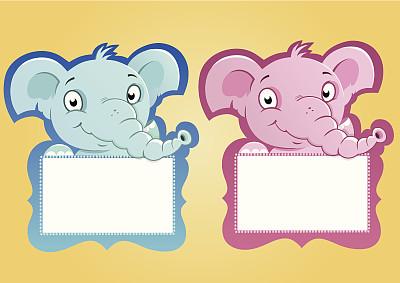 象,边框,是个男孩,是个女孩,垂直画幅,贺卡,注视镜头,消息,绘画插图,男婴