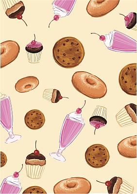 背景,糖果店,夹心多纳圈,垂直画幅,饼干,绘画插图,不完全的,樱桃,无人,不健康食物