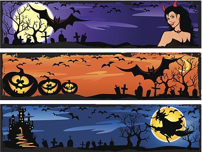 秋天,夜晚,无人,绘画插图,南瓜,扫帚,黑色,十月