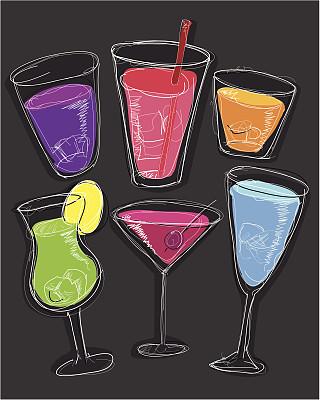 快乐时光,不完全的,彩色图片,无人,绘画插图,玻璃杯,鸡尾酒,潦草,草图,饮料