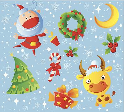 新年,四方连续纹样,无人,月亮,绘画插图,圣诞老人,圣诞树,组物体,花卉花环