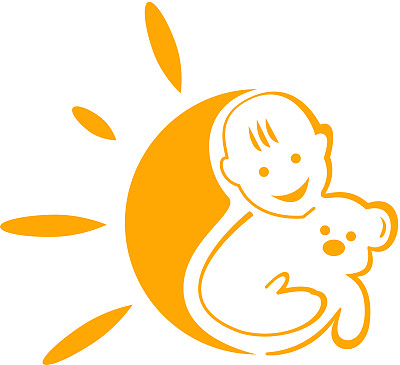 符号,幸福,绘画插图,熊,太阳,阳光光束,彩色图片,童年,男孩,标志