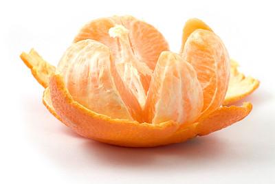 橙子,去皮的,水平画幅,橙色,水果,无人,白色背景,熟的,背景分离,开着的