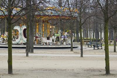 杜乐丽花园,旋转类游乐,巴黎,卢浮宫,协和广场,杜伊勒利区,爱德华七世时代风格,公园,长椅,水平画幅