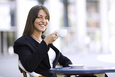 咖啡,商务,女人,美,水平画幅,美人,周末活动,户外,饮料,特写