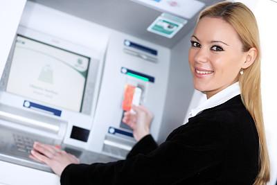 自动取款机,信用卡,女人,银行出纳员,水平画幅,银行,顾客,特写,仅成年人,机器