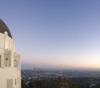洛杉矶,简单,格里菲思公园天文台,好莱坞山,格里菲思公园,中长距离,天文台,林荫大道,天空,art deco风格