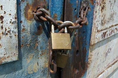 链,生锈的,水平画幅,禁止的,工厂,大门,金属,安全,特写,被抛弃的
