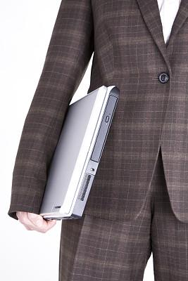 女商人,套装,笔记本电脑,拿着,腰部以下,白色背景,商务,专业人员,计算机,一个人
