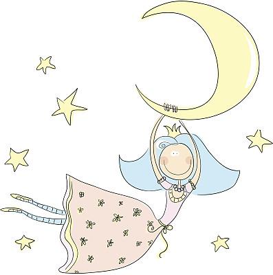 仙女,王冠,彩色图片,星形,公主,月亮,绘画插图,幻想,卡通,儿童