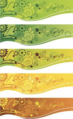 花纹,留白,水平画幅,形状,无人,绘画插图,夏天,草,仅一朵花,部分