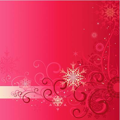 背景,花形图案装饰,留白,雪,无人,绘画插图,新年,圣诞装饰物,十二月