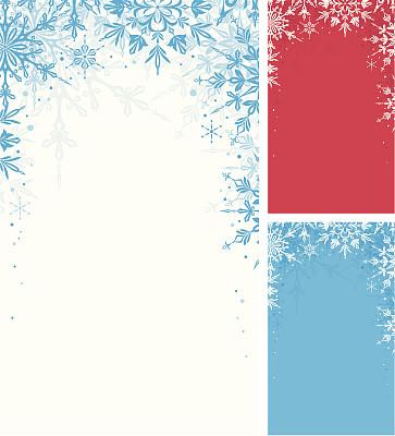 冬天,背景,留白,雪,无人,蓝色,绘画插图,新年,红色