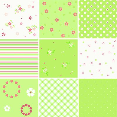 绿色,粉色,纺织品,绘画插图,夏天,组物体,四方连续纹样,仅一朵花,彩色图片,复古风格