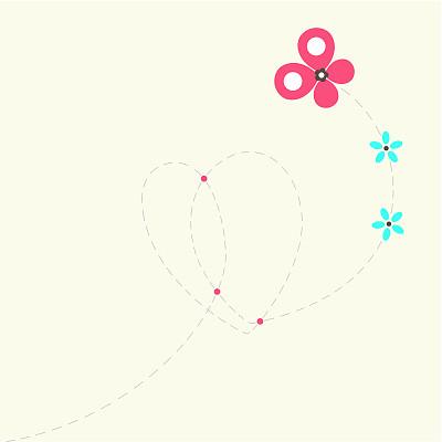 蝴蝶,心型,留白,绘画插图,夏天,生日,卡通,方形画幅,线条画,仅一朵花