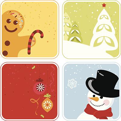 姜饼男人,礼物标签,雪,无人,绘画插图,符号,标签,圣诞树,圣诞装兄弟�推�]下饰物