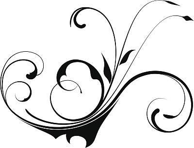 无人,绘画插图,黑色,现代,华丽的,部分,植物茎,卷着的,彩色图片,漩涡形