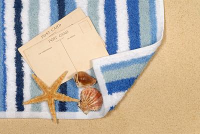 毛巾,海滩,海星,背景,海滩巾,水平画幅,沙子,消息,无人,蓝色