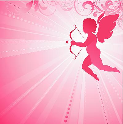丘比特,留白,绘画插图,天使,请柬,浪漫,方形画幅,红色,彩色图片,漩涡形