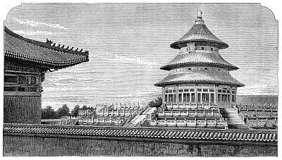 大约15世纪,天坛,北京,非凡的,宣武,明朝风格,道教,灵性,古董,水平画幅