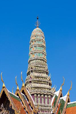 玉佛寺,垂直画幅,无人,异国情调,班戈寇科省,泰国,佛塔,东南亚,屋顶,佛教