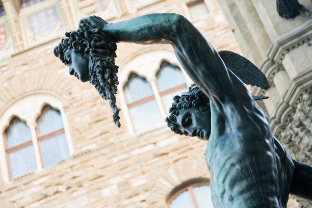 珀尔修斯,蛇发女妖,铜像,纪念碑,灵性,艺术,水平画幅,无人,佛罗伦萨,户外